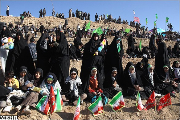 Sahabiyat represented by Mushrik Iranian women with the hideous Iranian flag at Ghadir QOM ...
