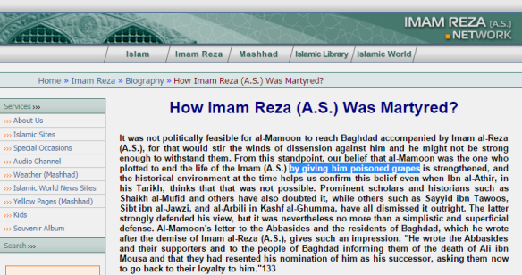 vAlleged infallible, super-powers and knowledge-of-the-unseen possessing Imam was having poisoned grapes ...